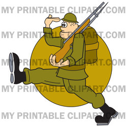 Army Soldier Marching With A Gun And Backpack While Saluting Clipart