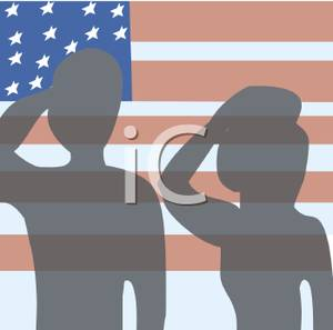 Clipart Image Of Silhouettes Of Soldiers Saluting The American Flag