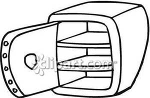 Empty Black And White Safe   Royalty Free Clipart Picture