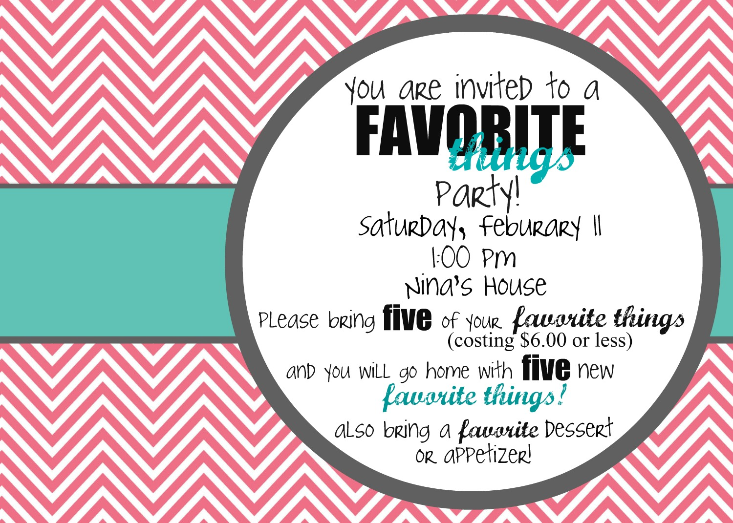 Favorite Things Party   Faith Hope Love