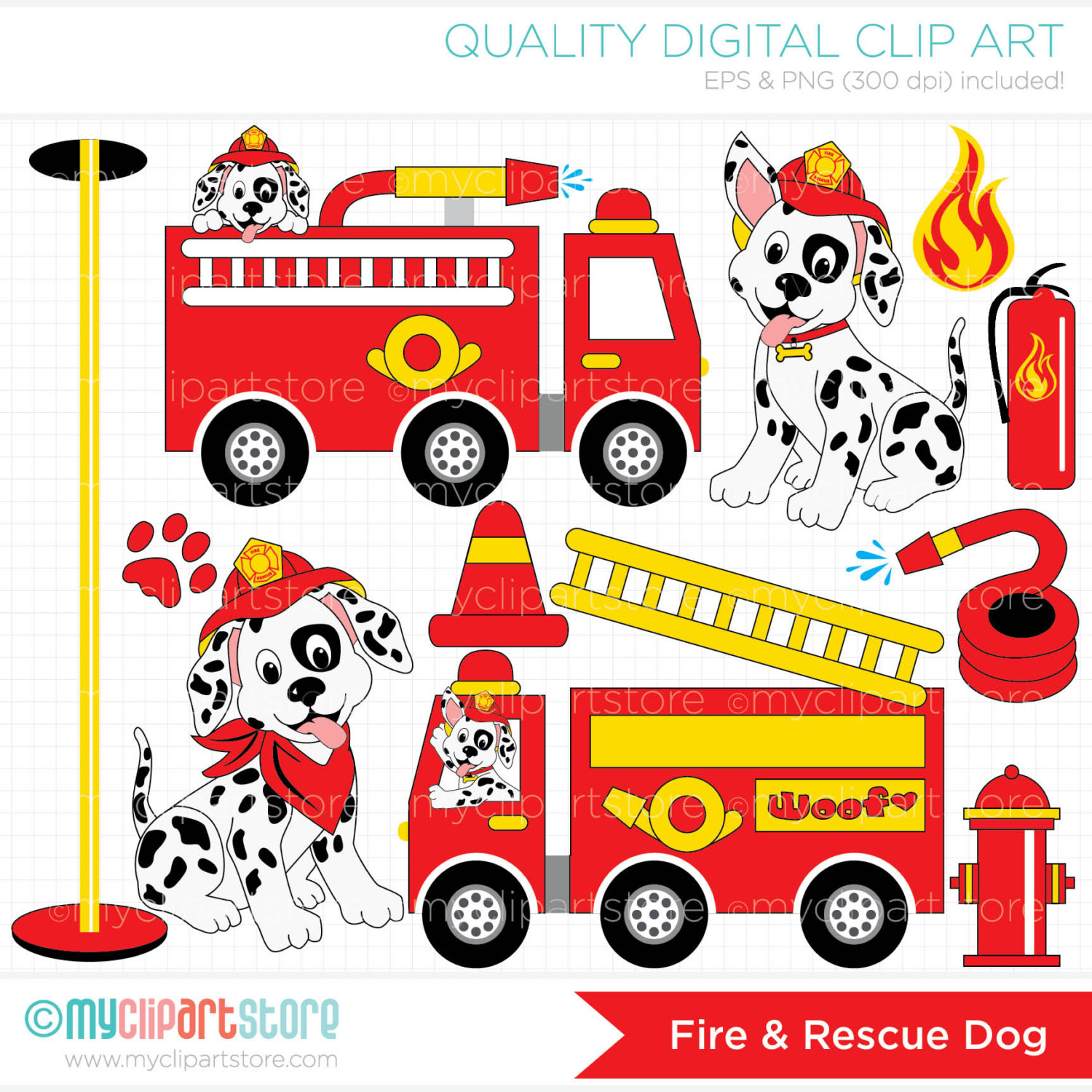 Fire And Rescue Dog   Fire Trucks Clip Art   By Myclipartstore
