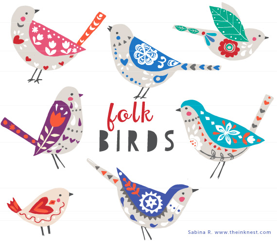 Folk Birds From   8 Choose File Type Choose An Option Clip Art Vecotor