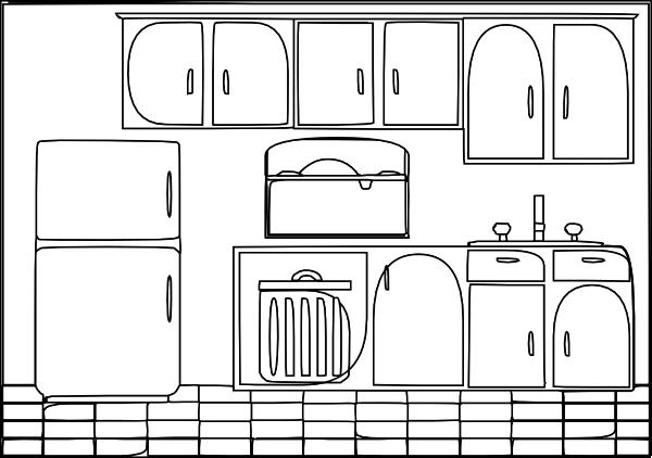 Kitchen sink clipart black and white