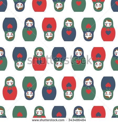 Matrioshka Illustration Isolated On White Background    Stock Vector