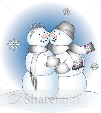 New Year Snow People   Religious Christmas Clipart