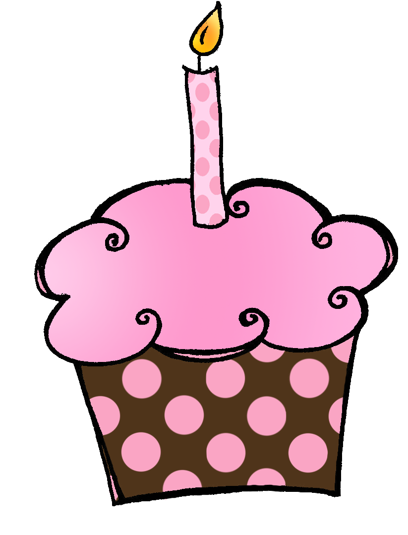 Birthday Cupcake With Candle Clipart Clipart Best
