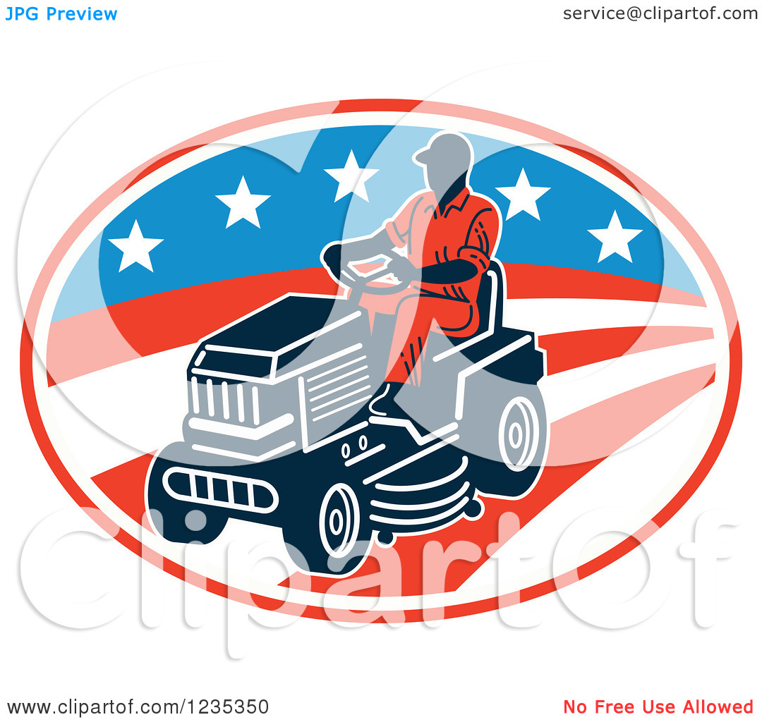 Clipart Of A Man Riding A Lawn Mower Over An American Stars And