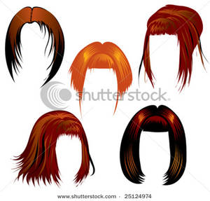 Five Sets Of Red Hair Clip Art Image