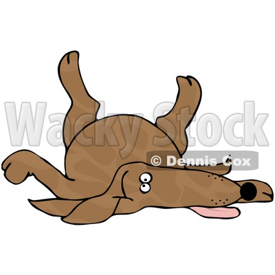 Free  Rf  Clipart Illustration Of A Brown Spotted Dog Playing Dead