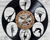 Gymnastics Vinyl Clock Wall Decor   Not  Girls Leotards Grips Jewelry