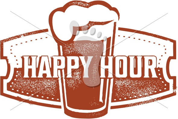Happy Hour Beer Specials  Vintage Style Sign Clip Art  Vector Format