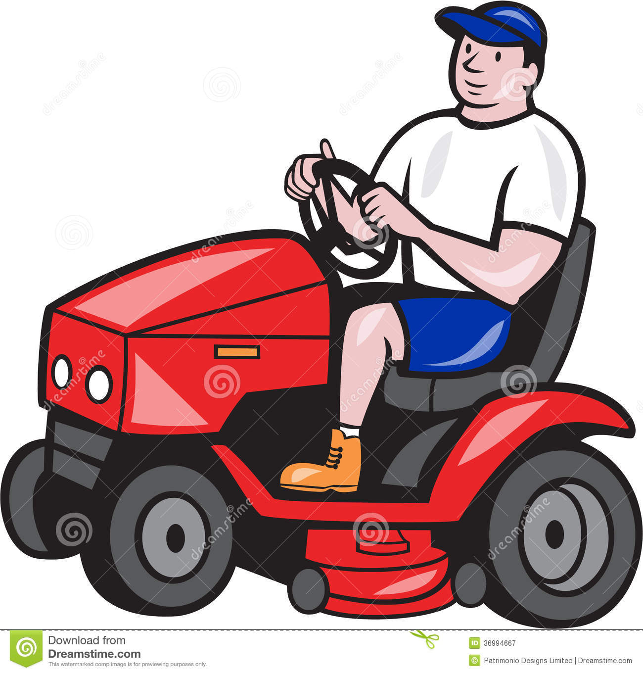 Illustration Of Male Gardener Riding Mowing With Ride On Lawn Mower
