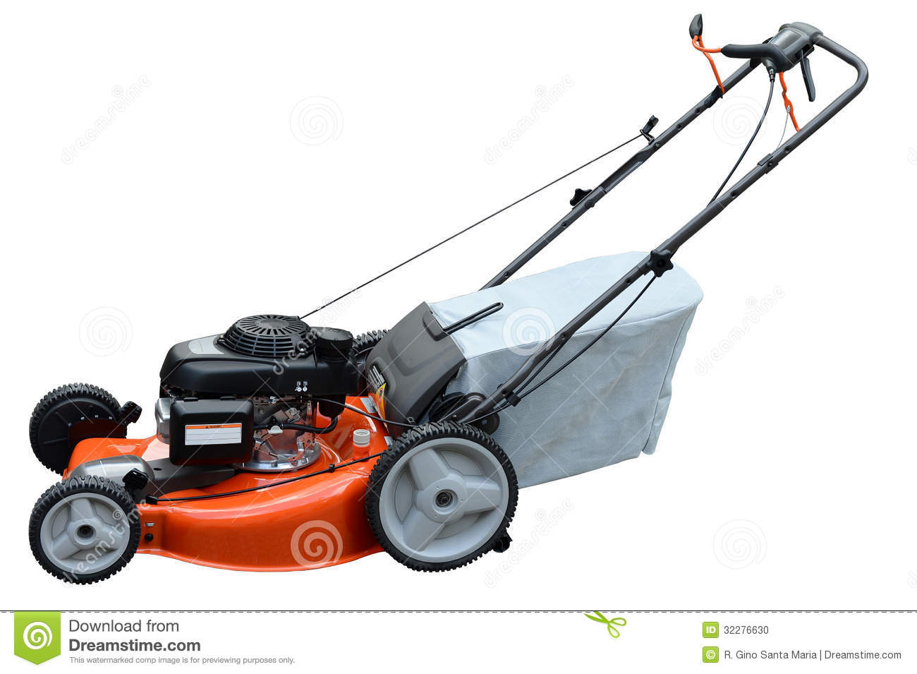 Lawn Mower On Side View Isolated Over White Background Mr No Pr No 4
