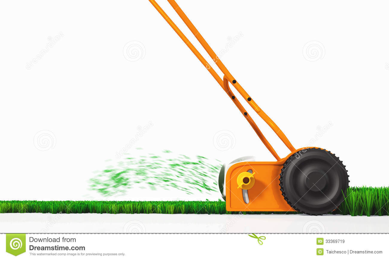 Side View Of An Orange Push Lawn Mower In Movement That Is Cutting