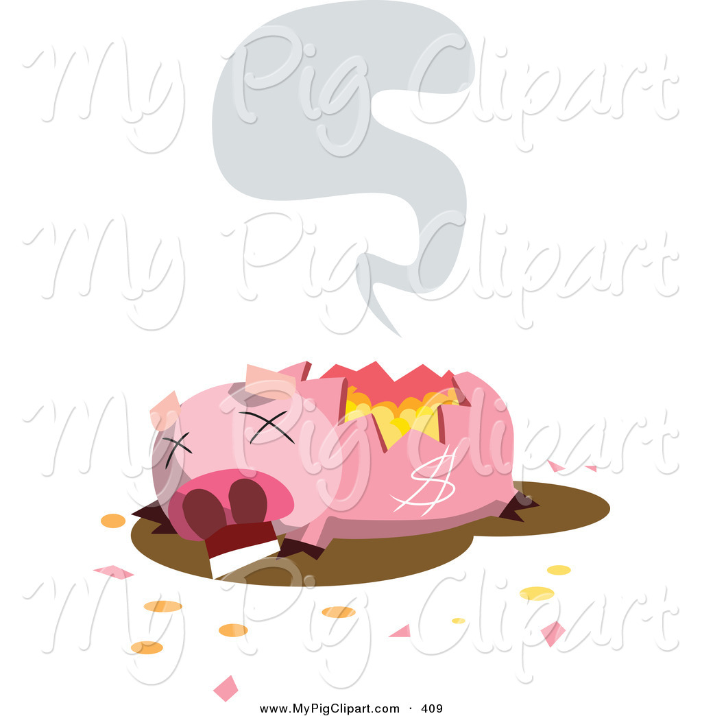 Swine Clipart Of A Dead And Broken Piggy Bank On Fire Symbolizing