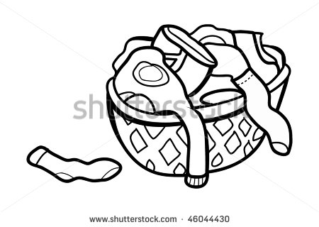 Vector Outline Illustration Dirty Clothes Hamper   Stock Vector