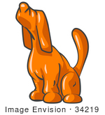 Art Graphic Of An Orange Hound Dog Character Sounding A Lonely Howl