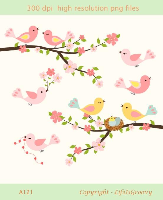 Bird Nest In Tree Clipart Love Birds Spring Flowering