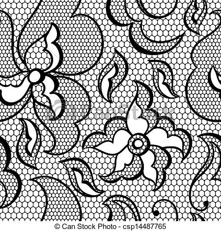 Clip Art Vector Of Lace Fabric Seamless Pattern With Abstract Flowers