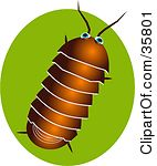 Clipart Illustration Of A Brown Pillbug Or Roly Poly Bug Over A Green