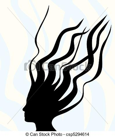 Eps Vector Of Wild Hair   A Silhouette Of A Woman With Wild Hair