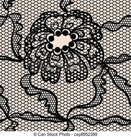 Eps Vectors Of Black Lace Vector Fabric Seamless Pattern With Flowers