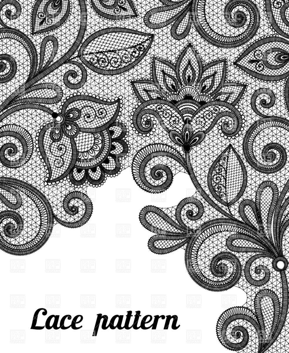 Floral Black Lace Pattern Download Royalty Free Vector Clipart  Eps