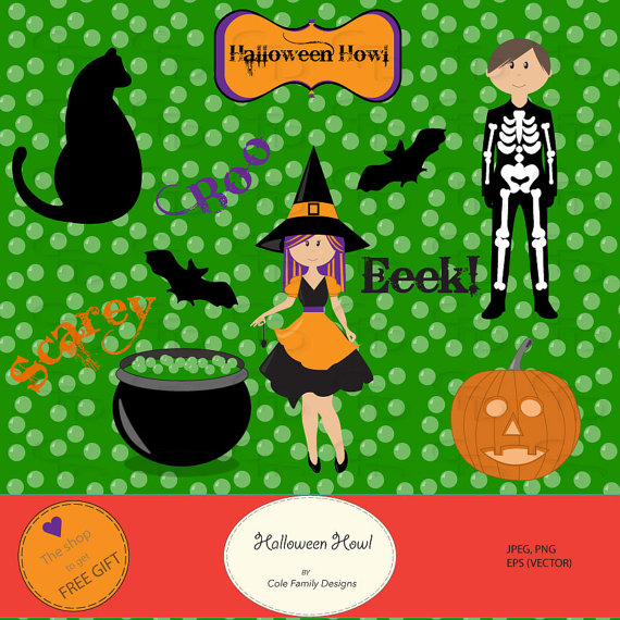 Halloween Howl Clipart Commercial Or Personal Use Vector Graphics