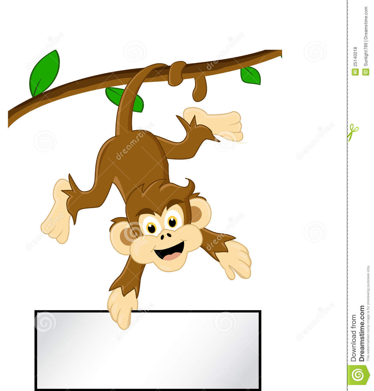 Monkey In A Tree Cartoon Funny Monkey Tree Blank Sign 25140018 Jpg