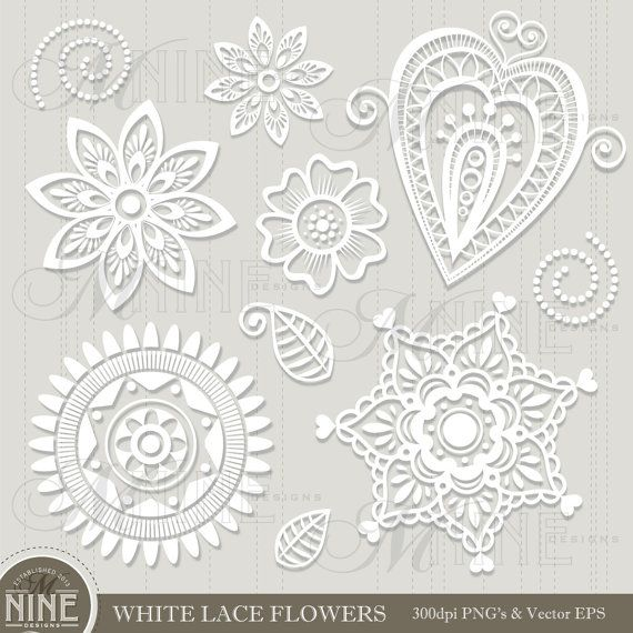White Lace Flowers Clip Art Instant Download White Paper Lace Clipa