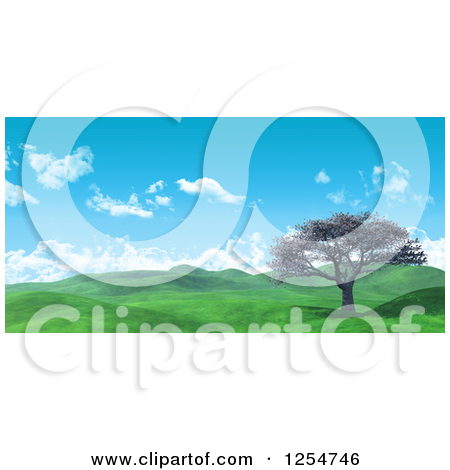 Clipart Of A 3d Widescreen Landscape With A Cherry Tree And Lush Green