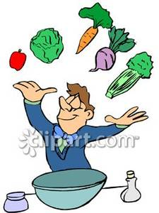 Excited Man Throwing Salad Makings Up In The Air   Royalty Free