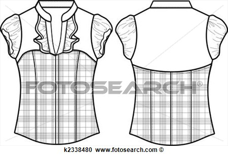 Illustration   Lady Formal Checked Blouse  Fotosearch   Search Clipart