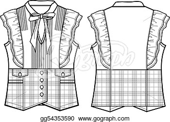 Lady Formal Checked Blouse  Clipart Illustrations Gg54353590   Gograph