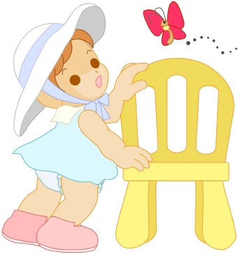 Toddler With Butterfly Clip Art