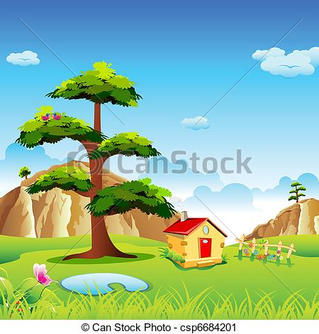Valley With    Csp6684201   Search Clipart Illustration Drawings