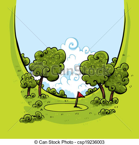 Vector Clipart Of Golf Green Valley   A Golf Green At The Bottom Of A