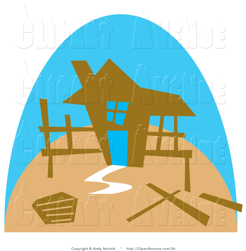 Clipart Of The Framework Of A Stick Built House Under Construction