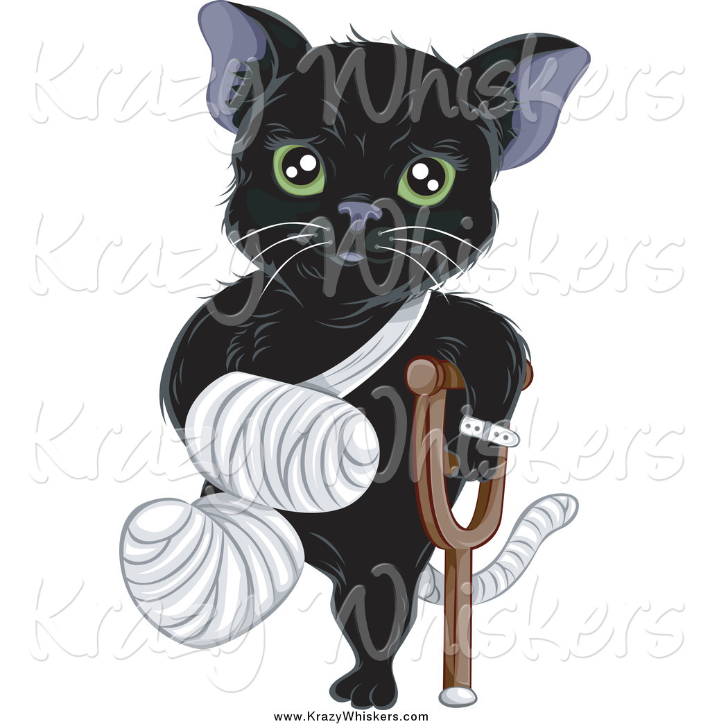 Critter Clipart Of A Hurt Green Eyed Black Cat With A Bandaged Foot
