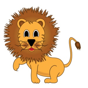 Lion Clipart Image   Young Cartoon Lion With A Raised Paw As If It