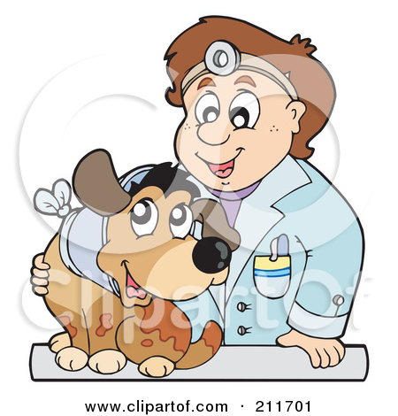 Rf  Clipart Illustration Of A Female Veterinarian Tending To A Cat