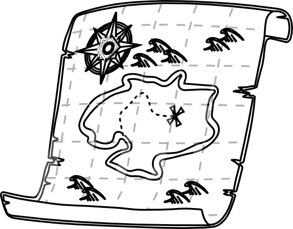 Blank Treasure Map Black And White   Clipart Best