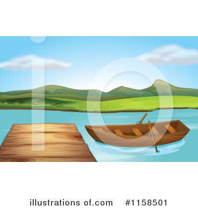 Cartoon Of A Dock On Lake Shore 3 Royalty Free Vector Clipart