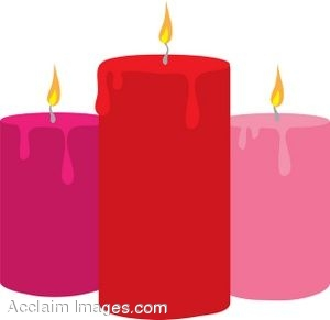 Clip Art Illustration Of Three Candles In Shades Red Clipart