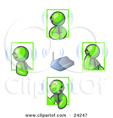 Clipart Illustration Of A Group Of Four Lime Green Men Holding A Phone