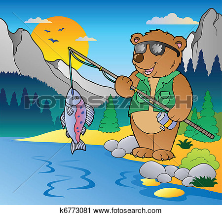 Clipart   Lake With Cartoon Fisherman 2  Fotosearch   Search Clip Art