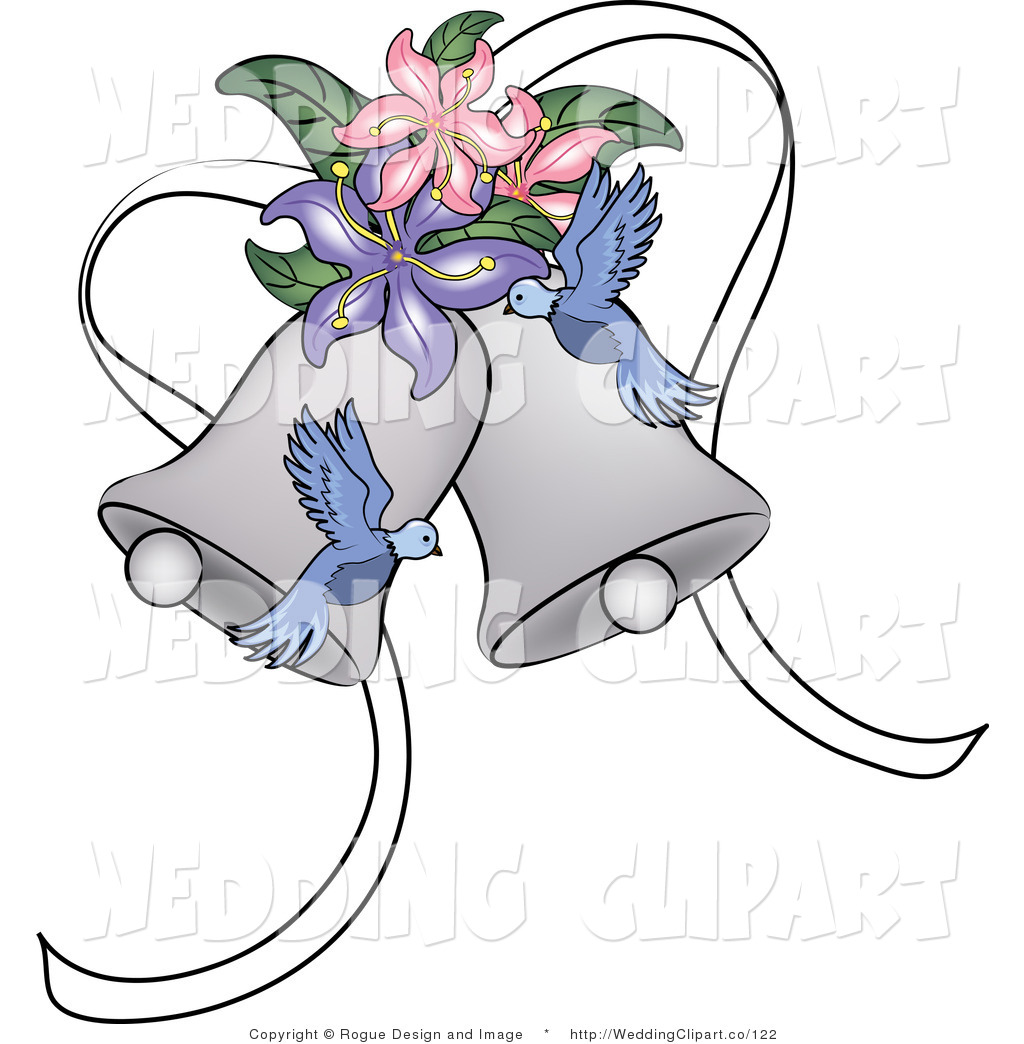Clipart Of A Wedding Blue Doves And Lilies With Bells By Pams Clipart