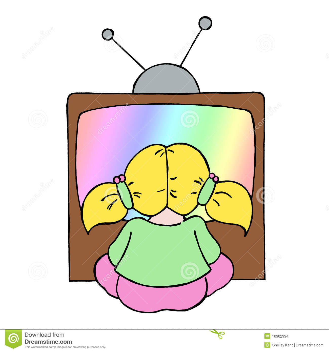 Colour Line Cartoon Drawing Of A Young Girl Watching Television