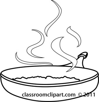 Food   Frying Pan With Food Culinary Outline   Classroom Clipart
