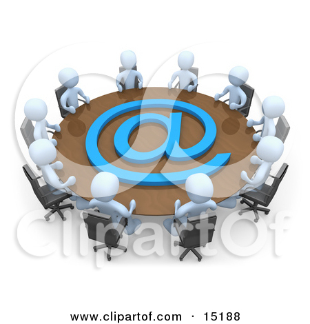 Group Of Light Blue People Holding A Meeting About Communications At A